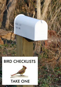 Sandy Creek mailbox with bird list
